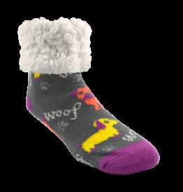 Pudus Classic Slipper Socks w/ White Fuzzy Cuff - Dog Grey