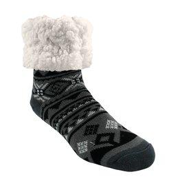 Pudus Classic Slipper Socks w/ White Fuzzy Cuff - Geometric Black