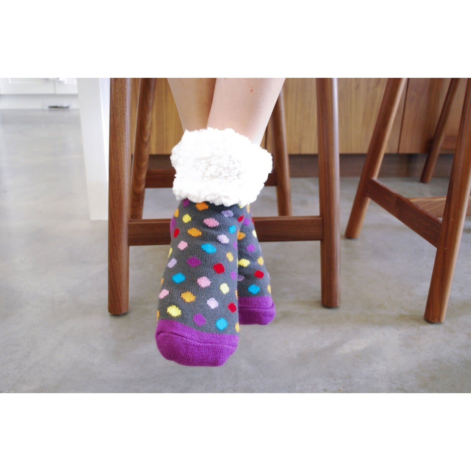 Classic Slipper Socks w/ White Fuzzy Cuff - Polka Dot Multi