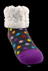 Pudus Classic Slipper Socks w/ White Fuzzy Cuff - Polka Dot Multi