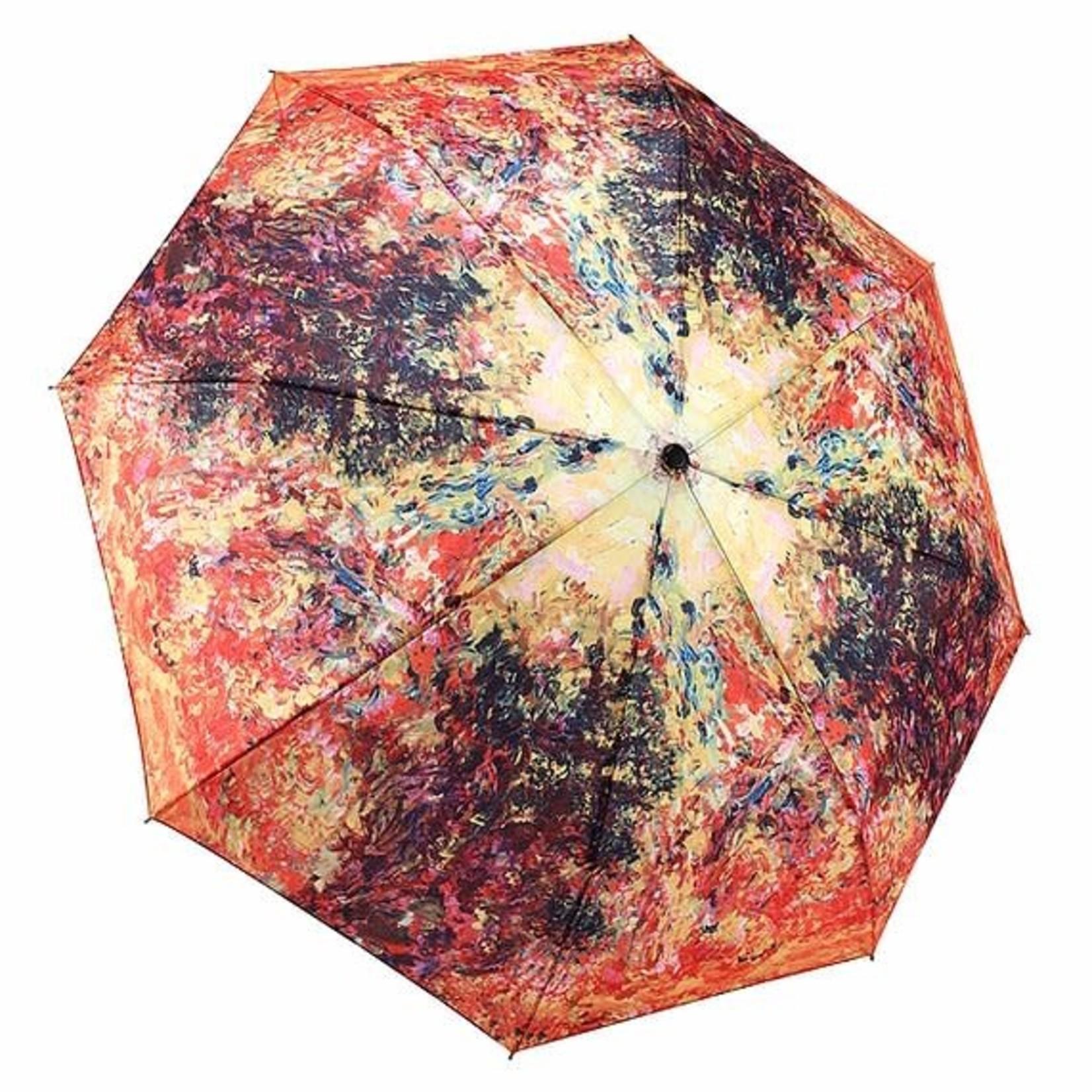 Monet, The Artist's House from the Rose Garden Reverse Close Folding Umbrella