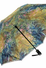 Irises by Monet Reverse Close Folding Umbrella