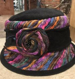 Hat Stack Black Multi-Rosette Floppy Hat