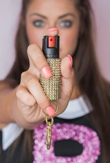 Blingsting Pepper Spray in Gold Rhinestone Case
