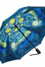 Van Gogh Starry Night Reverse Close Folding Umbrella