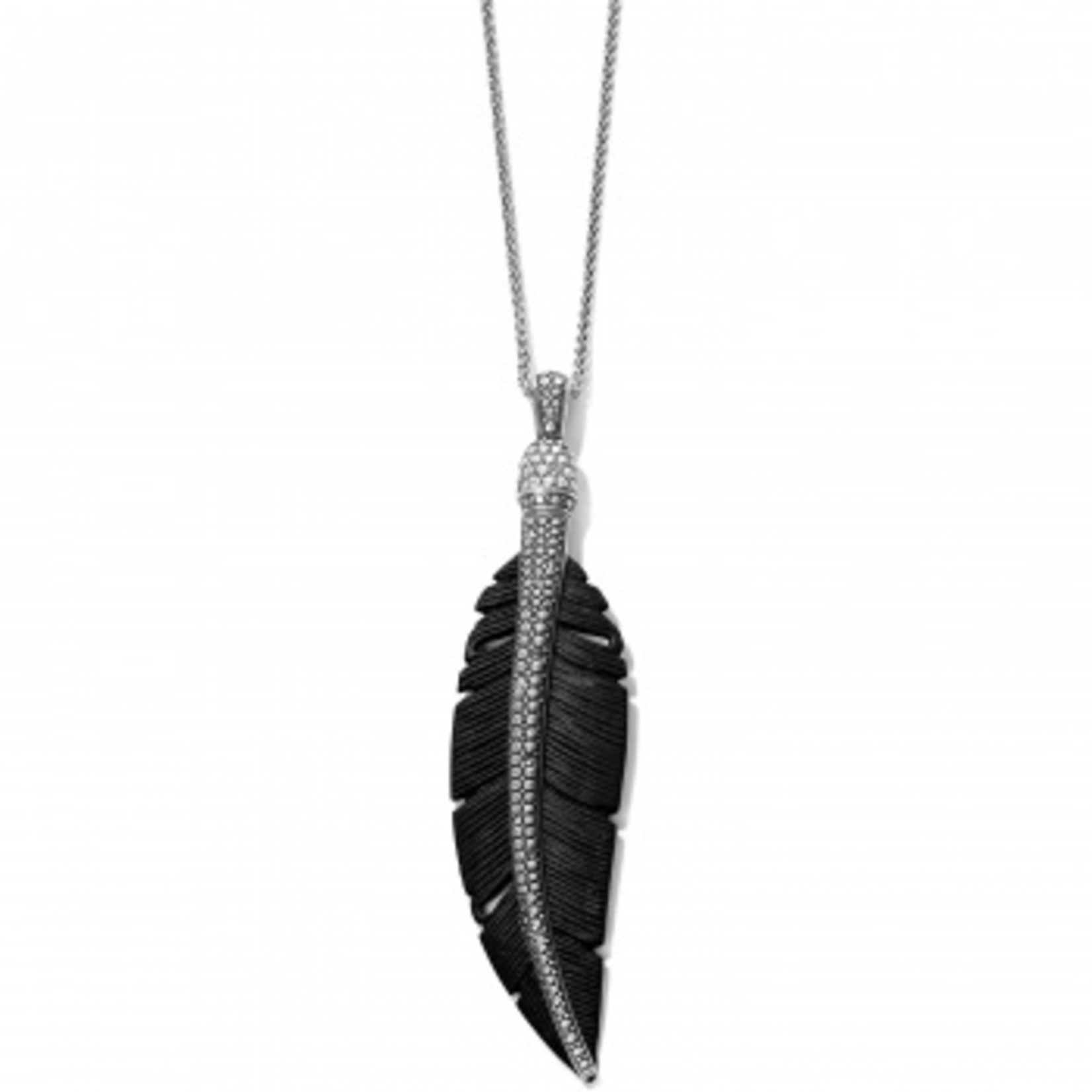 Brighton Free Spirit Feather Necklace Silver-Black