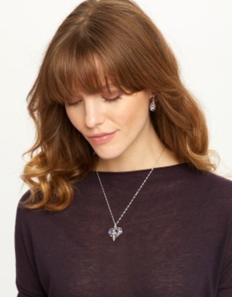 Brighton Trust Your Journey Heart Necklace Silver-Multi