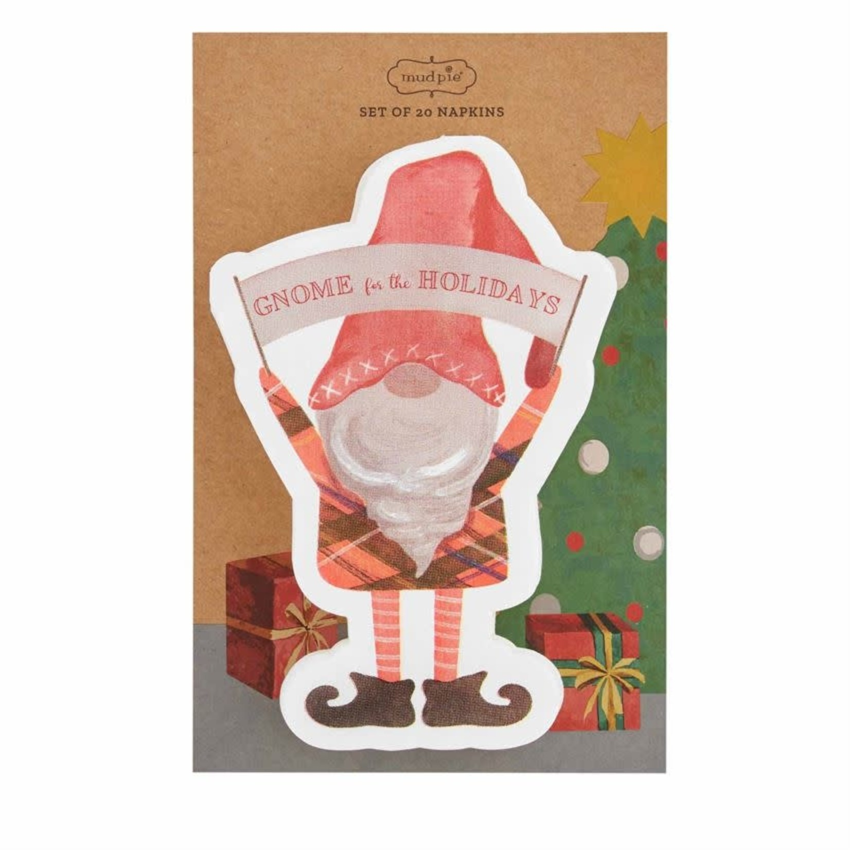 Holiday Gnome Shaped Paper Napkin