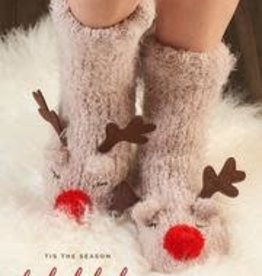 Sherpa Lined Reindeer Knit Adult Sock