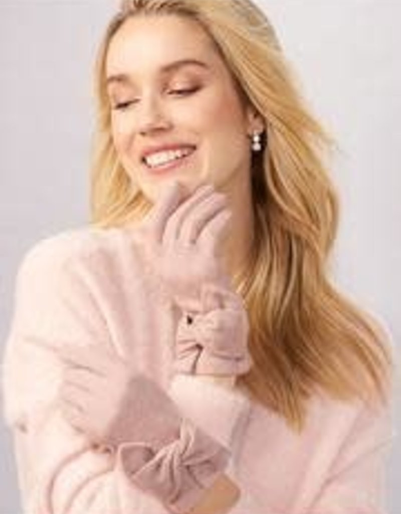 Charlie Paige Bow Detail Gloves in Rose Wool Blend
