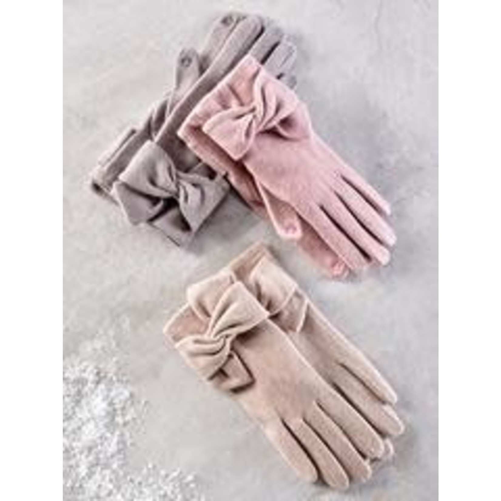 Charlie Paige Bow Detail Gloves in Chateau Grey Wool Blend