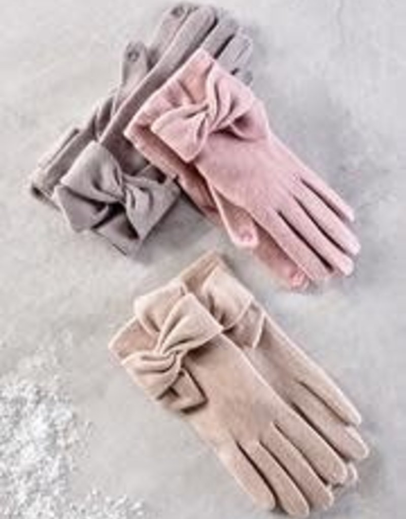 Charlie Paige Bow Detail Gloves in Tan Wool Blend