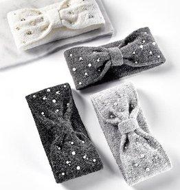Charlie Paige Pearl Embellished Knit Headband in Dark Grey