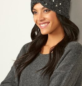 Charlie Paige Pearl Embellished Knit Headband in Black