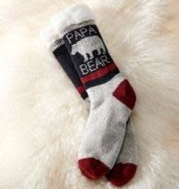 Charlie Paige Sherpa Lined Papa Bear Slipper Socks