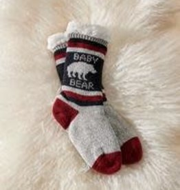 Charlie Paige Sherpa Lined Baby Bear Slipper Socks in Black