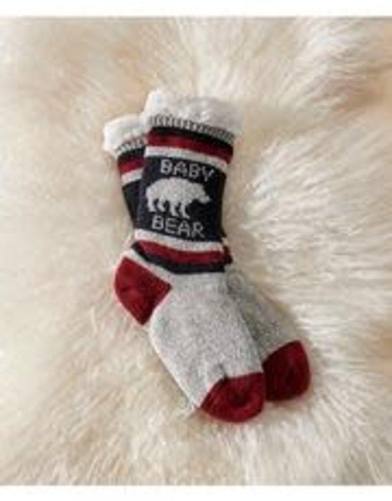 Charlie Paige Sherpa Lined Baby Bear Slipper Socks in Black