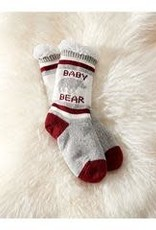 Charlie Paige Sherpa Lined Baby Bear Slipper Socks in White