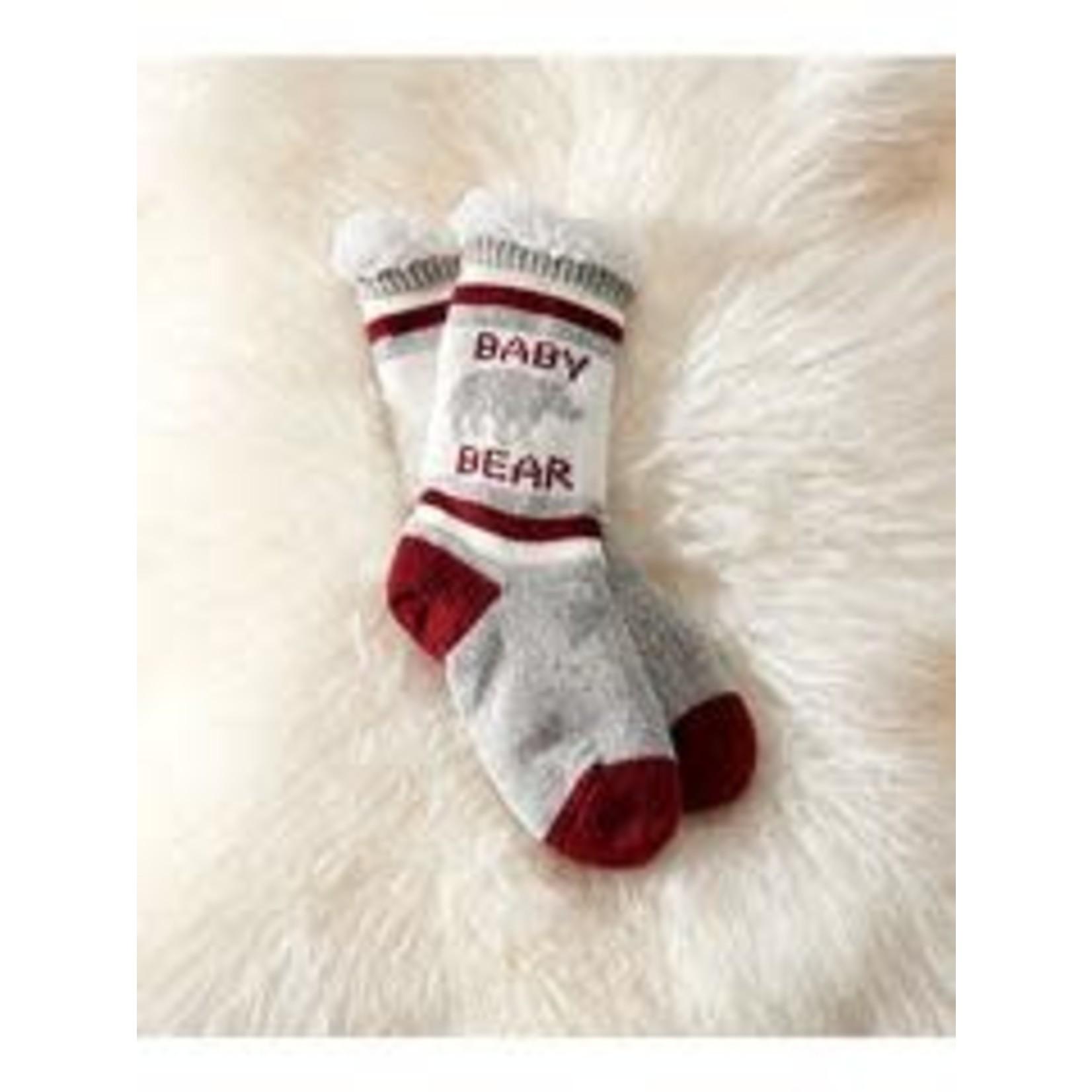 Charlie Paige Sherpa Lined Baby Bear Slipper Socks in White