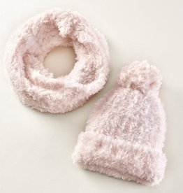Charlie Paige Plush Knit Hat & Scarf Set in Hushed Violet