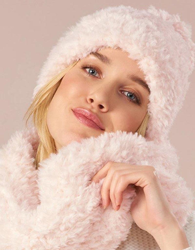 Charlie Paige Plush Knit Hat & Scarf Set in Hushed Violet
