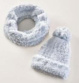 Charlie Paige Plush Knit Hat & Scarf Set in Pussywillow Grey