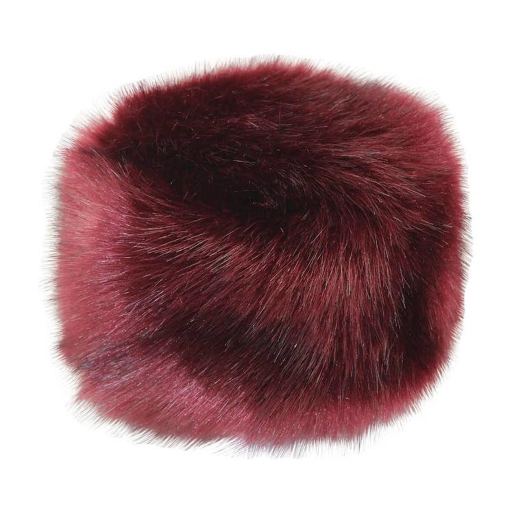Jeanne Simmons Red Faux Fur Hat w/ Fleece Lining