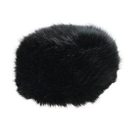 Black Faux Fur Hat w/ Fleece Lining