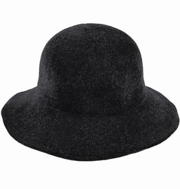 Hat Stack 100% Chenille Floppy Brim Hat - Black