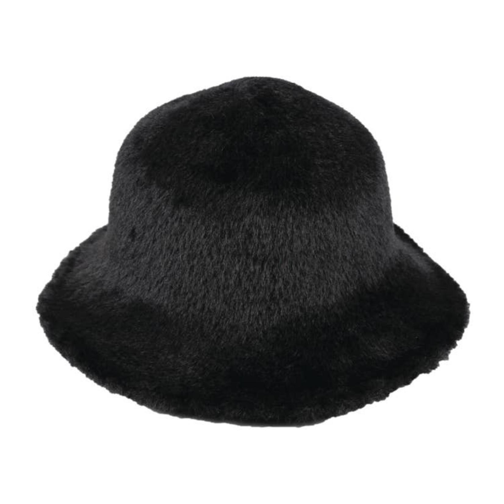 Hat Stack Fuzzy Wire Adjustable Brim Hat - Black