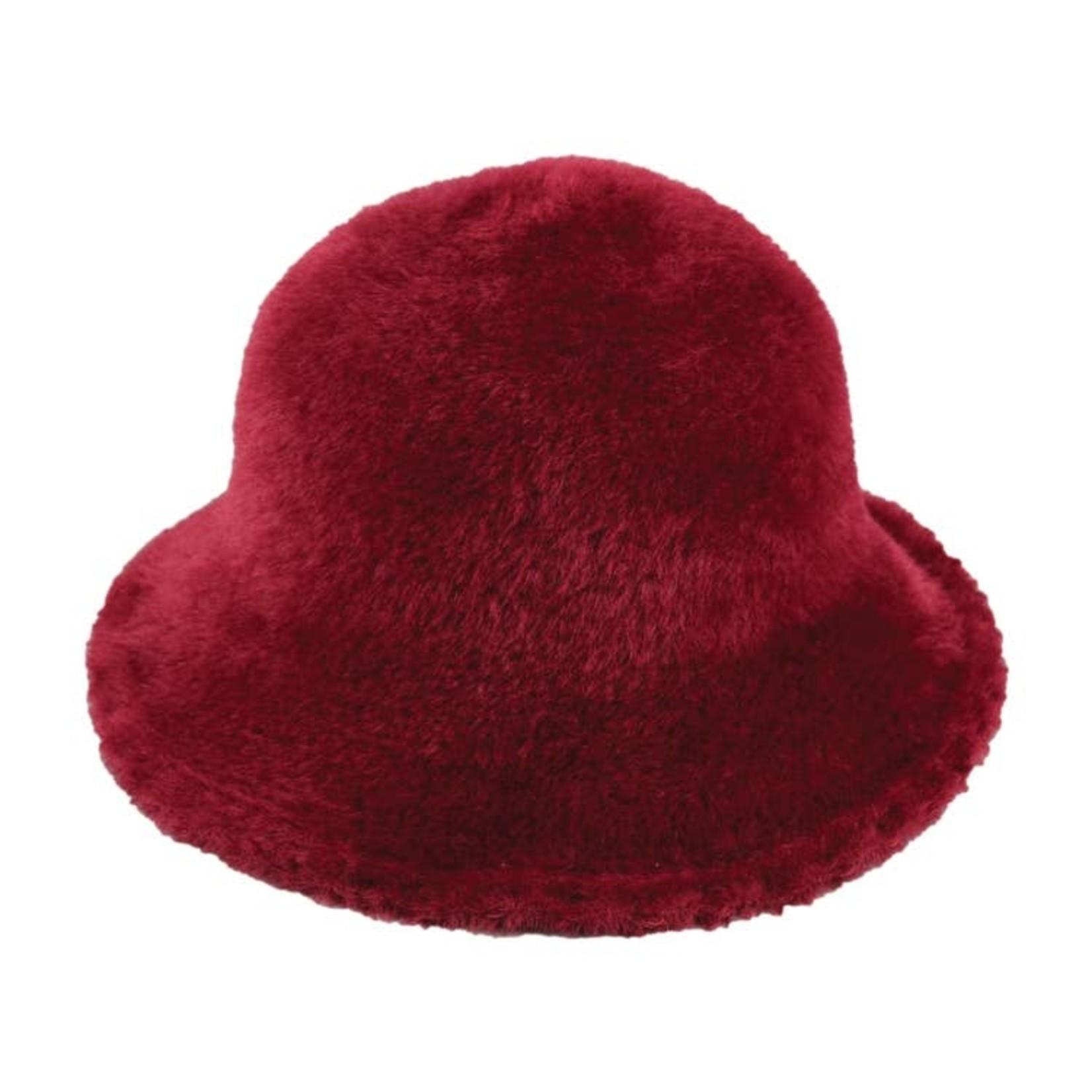 Jeanne Simmons Fuzzy Wire Adjustable Brim Hat - Burgundy