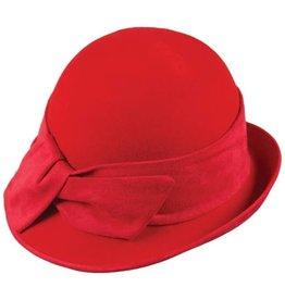 Hat Stack 100% Wool Cloche Hat w/ Upturn Back Brim and  Twist Trim - Red
