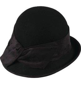 Hat Stack 100% Wool Cloche Hat w/ Upturn Back Brim and  Twist Trim - Black