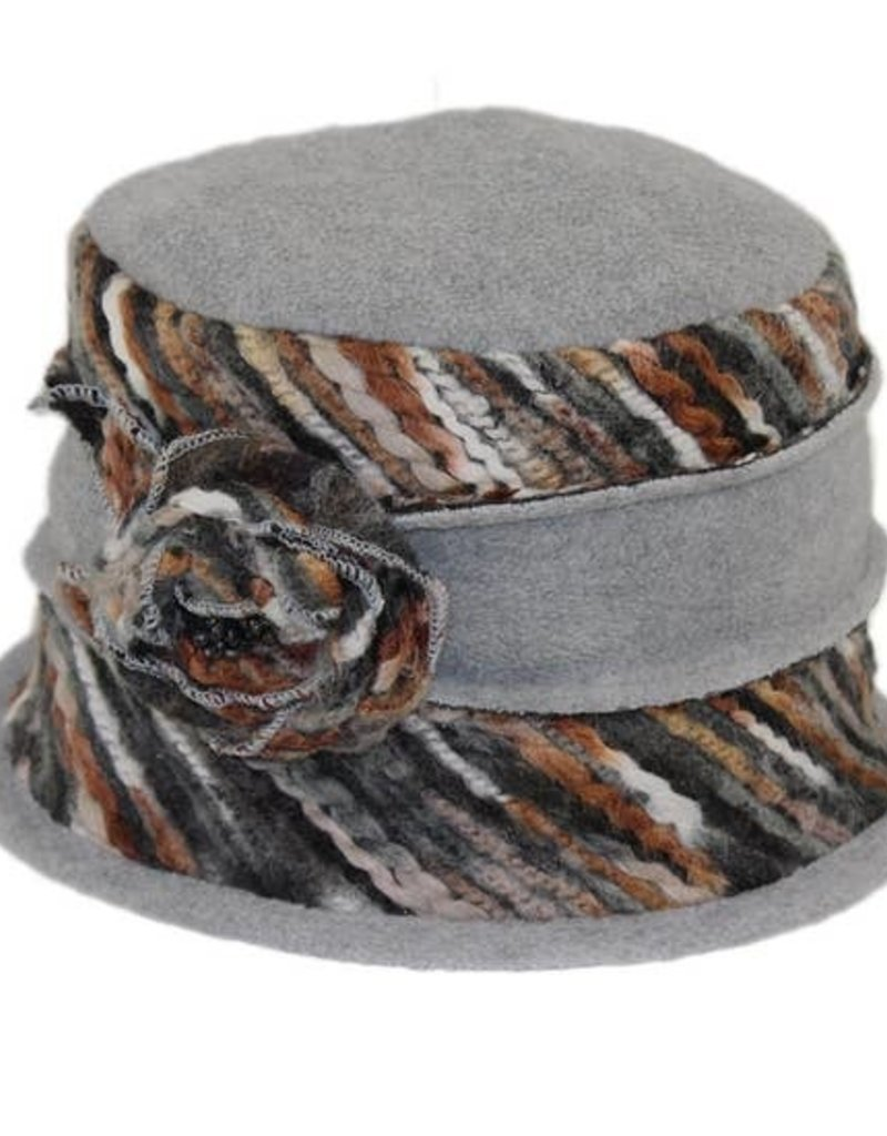 Hat Stack Black Grey-Rosette Floppy Hat