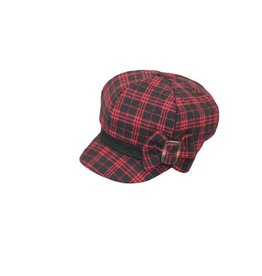 Hat Stack Red and Black Fleece Checkered Beret w/ Bow Buckle