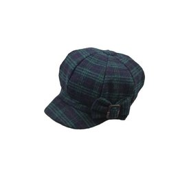 Hat Stack Navy and Green Fleece Checkered Beret w/ Bow Buckle