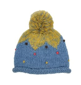 Hat Stack Blue and Yellow Acrylic Knit Hat w/ Multi Color Dots