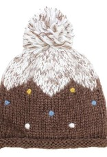 Hat Stack Brown and White Acrylic Knit Hat w/ Multi Color Dots