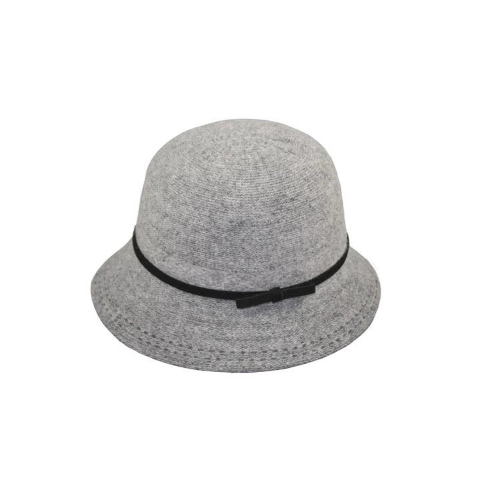 Hat Stack Hat/AcrylicBucketBlkTieCrownBlkStitchBrimEdge Light Grey