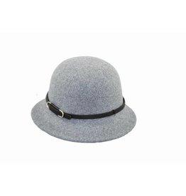 Hat Stack Small Brim Cloche Hat w/ Leather Trim - Lt Grey