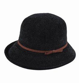 Hat Stack 100% Chenille Cloche Hat w/ Leather Trim - Black