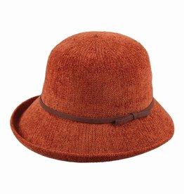 Hat Stack 100% Chenille Cloche Hat w/ Leather Trim - Rust