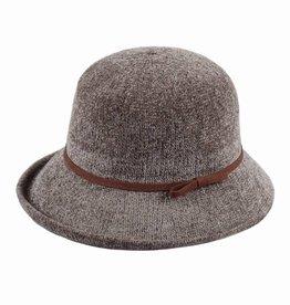 Hat Stack 100% Chenille Cloche Hat w/ Leather Trim - Gray