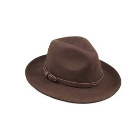 Hat Stack 100% Wool Brown Fedora w/ Leather Trim - Adjustable