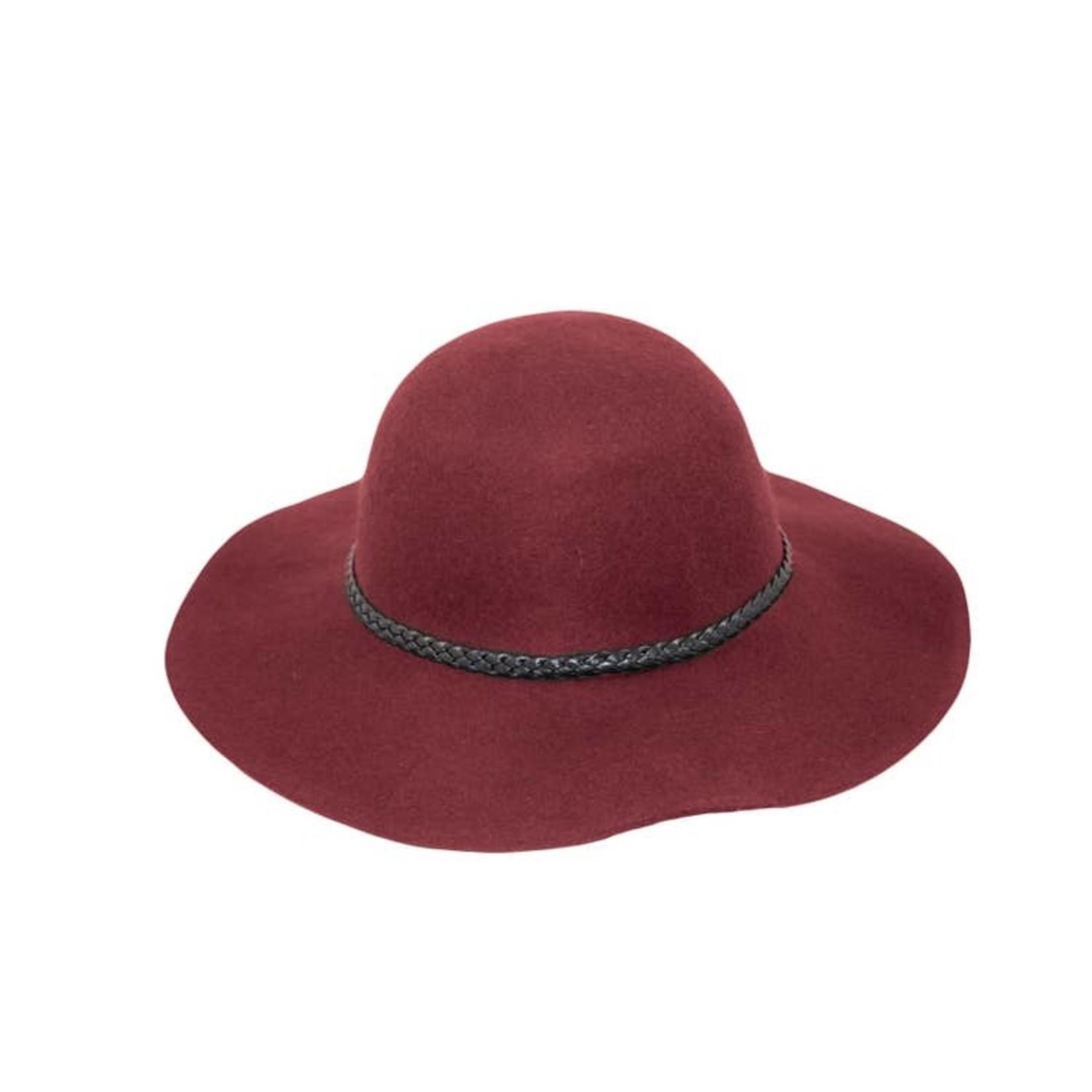 Jeanne Simmons 100% Wool Wide Floppy Brim Hat w/ Leather Braid Trim - Burgundy