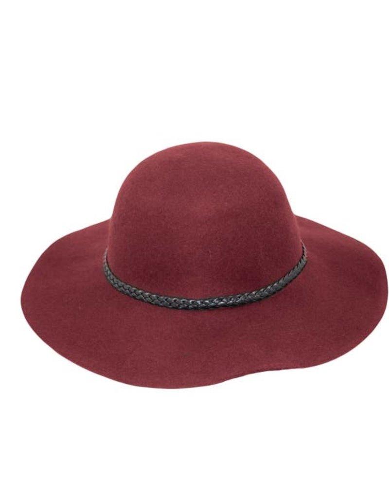 Hat Stack 100% Wool Wide Floppy Brim Hat w/ Leather Braid Trim - Burgundy