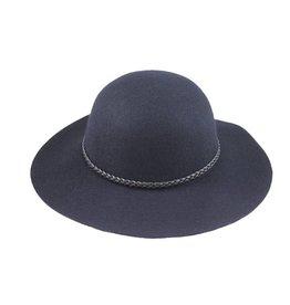 Hat Stack 100% Wool Wide Floppy Brim Hat w/ Leather Braid Trim - Navy