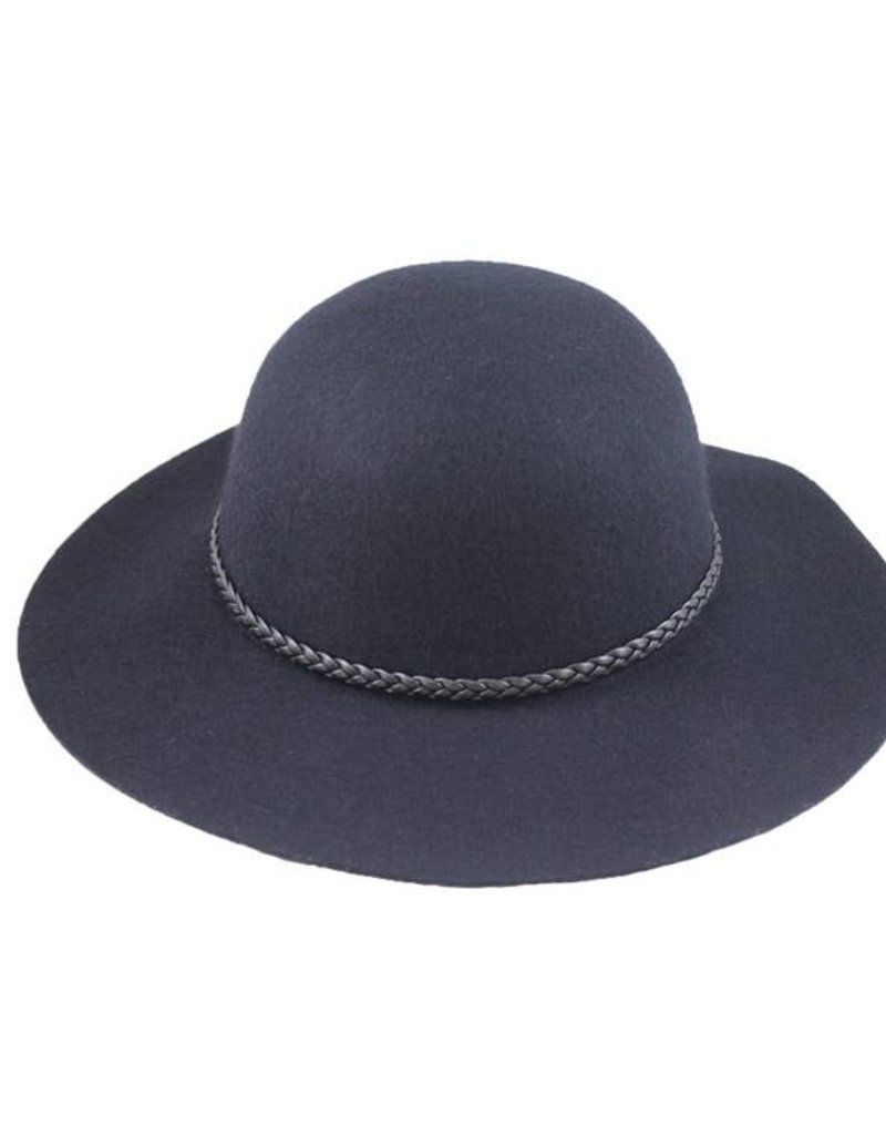 Hat Stack 100% Wool Wide Floppy Brim Hat w/ Leather Braid Trim - Navy