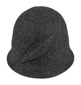 Hat Stack Black Wool Felt Bucket Hat w/ Feather