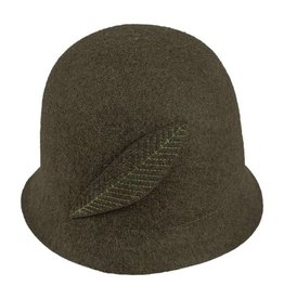 Hat Stack Olive Wool Felt Bucket Hat w/ Feather
